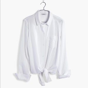 Madewell White Tie-Front Shirt
